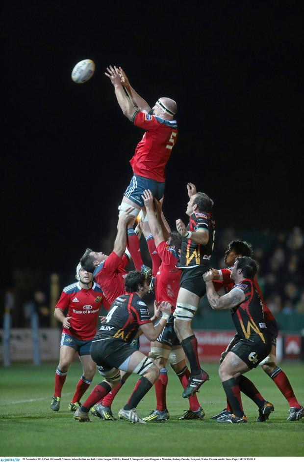 29 November 2013; Paul O'Connell, Munster takes the line out ball. Celtic League 2013/14, Round 9, Newport Gwent Dragons v Munster, Rodney Parade, Newport, Wales. Picture credit: Steve Pope / SPORTSFILE
