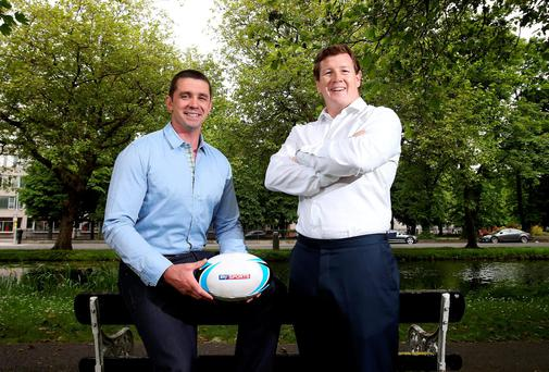 Paul Wallace and Alan Quinlan were in Dublin to promote Sky Sports' rugby broadcasting package. Sky will show more than 360 live matches including a great autumn of Irish rugby with Pro12, European Rugby Champions Cup and Ireland's Autumn Internationals. Photo: INPHO/Dan Sheridan