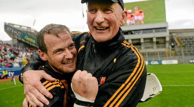Kilkenny manager Brian Cody celebrates with Jackie Tyrrell after their All-Ireland semi-final victory over Limerick last month. Photo: Paul Mohan / SPORTSFILE