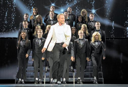 Michael Flatley on stage in London last night