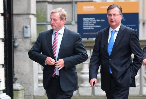 Taoiseach Enda Kenny with his Chief of Staff Mark Kennelly at Leinster House yesterday. Photo: Leon Farrell/Photocall Ireland.