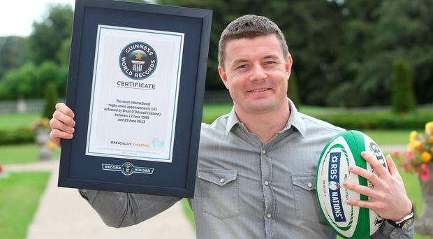 Brian O'Driscoll's record for the most international appearances in Rugby Union (141) will feature in the 60th anniversary edition of the Guinness World Records book, available to buy September 11