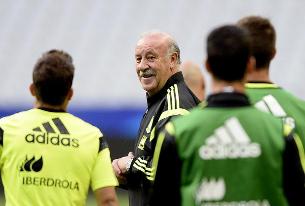 Spain coach Vincent Del Bosque has kept his job after their dismal showing at the World Cup and the rebuilding job now begins with a friendly against France. Photo: FRANCK FIFE/AFP/Getty Images