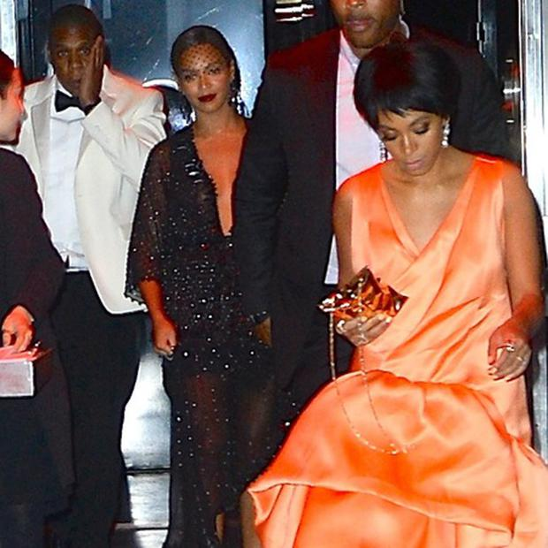 Beyonce, Solange and Jay-Z outside the infamous lift at the Met Gala in 2014