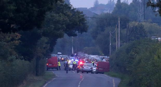 The scene where two children were found dead in the Charleville area of north county Cork tonight