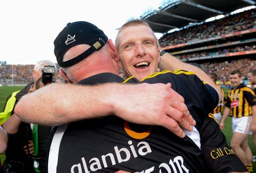 Kilkenny's Henry Shefflin celebrates with manager Brian Cody at the end of the All-Ireland SHC final replay against Galway in 2012. Picture credit: David Maher / SPORTSFILE