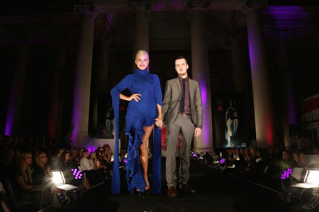 Pictured are Teo Sutra and Ciaran Gormley at the Dublin Fashion Festival Young Designer of the Year fashion show at Bank of Ireland, College Green, Dublin 2. Photography: Emily Quinn