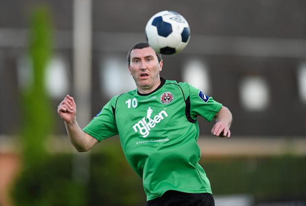 Jason Byrne struck to earn Bohemians a win to secure their Premier Divisoion status. Photo: Paul Mohan / SPORTSFILE