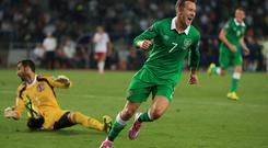 Aiden McGeady celebrates after scoring Ireland's opening goal during the Euro 2016 qualifier against Georgia in Tbilisi