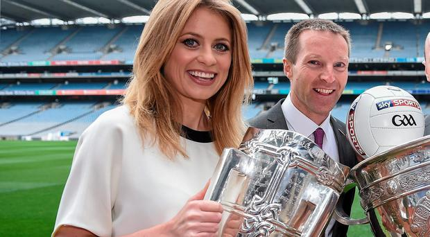 Sky Sports GAA presenters Rachel Wyse and Jamesie O'Connor.