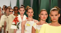 NEW YORK, NY - SEPTEMBER 08: Models walk the runway at the Carolina Herrera fashion show during Mercedes-Benz Fashion Week Spring 2015 at The Theatre at Lincoln Center on September 8, 2014 in New York City. (Photo by Frazer Harrison/Getty Images for Mercedes-Benz Fashion Week)
