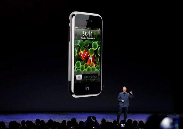 Apple CEO Tim Cook speaks during an Apple event at the Flint Center in Cupertino, California