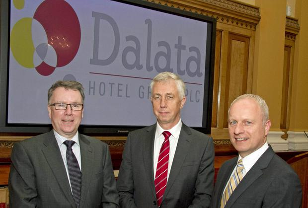 From left, Pat McCann, Chief Executive of the Dalata Hotel Group, John Hennessy, Chairman and Sean McKeon, Chief Financial Officer and Company Secretary