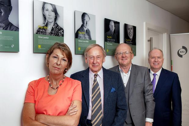 The 2014 Hall of Fame inductees are pictured here, from left, Aine Lawlor, RTE Radio , Walter Love, BBC Radio Ulster, Paul Claffey, Mid West Radio, and Tony Fenton Today FM. Picture credit: Iain White