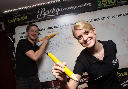 Martino Perlene and Aigi Lints from Bewley's Grafton St. The company has been a longtime supporter of Fairtrade.