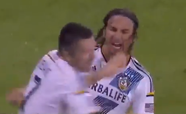 Robbie Keane gets bowled over by Alan Gordon