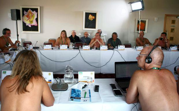 34th International Naturists Congress. Lough Allen Hotel, Drumshanbo, Co. Leitrim Delegates pictured at conference. Photo Brian Farrell