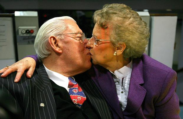 Ian Paisley kissing his wife Eileen, as the former Democratic Unionist Party leader Dr Ian Paisley, has died, his wife Eileen said today. Photo credit: Julien Behal/PA Wire