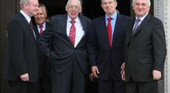 Martin McGuinness, Dr Ian Paisley, Prime Minister Tony Blair and Taoiseach Bertie Ahern pictures in 2007. Photo credit Niall Carson/PA Wire