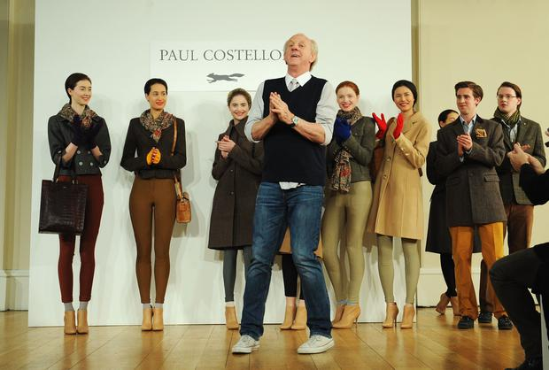 LONDON, ENGLAND - FEBRUARY 19: Designer Paul Costelloe walks the runway at the Paul Costelloe presentation during London Fashion Week Fall/Winter 2013/14 at The Portico Rooms, Somerset House on February 19, 2013 in London, England. (Photo by Stuart Wilson/Getty Images)