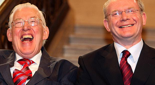 Ian Paisley and Martin McGuinness in the famous 'Chuckle Brothers' photograph at Stormount