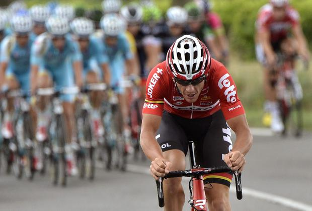 Adam Hansen breaks away from the peloton in the closing kilometres to take stage 19 of the Vuelta a espana. Photo: JEFF PACHOUD/AFP/Getty Images