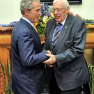 Pictured at Stormont Castle in 2008 were President George W Bush with Rev Ian Paisley Former First Minister of Northern Ireland.
