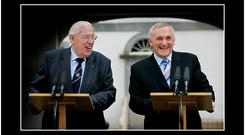 AN TAOISEACH BERTIE AHERN AND DR IAN PAISLEY SHARE A LIGHT MOMENT DURING THEIR SPEECHES DURING A VISIT TO THE BATTLE OF THE BOYNE YESTERDAY. PIC STEVE HUMPHREYS. 11TH MAY 2007.