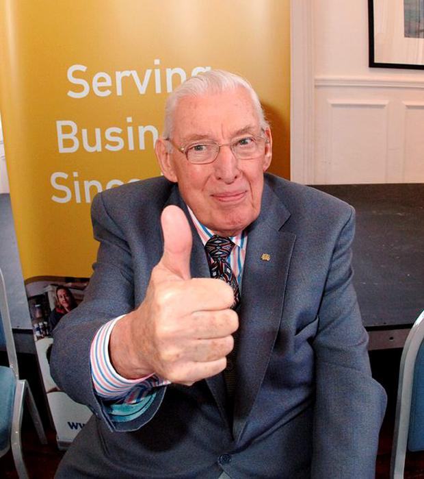 Flashback 2008.....Thumbs up from Dr. Ian Paisley during his press conference in Cobh Co. Cork. Photo Billy macGill