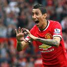 Manchester United's Angel Di Maria celebrates after scoring a goal against Queens Park Rangers during their English Premier League soccer match at Old Trafford