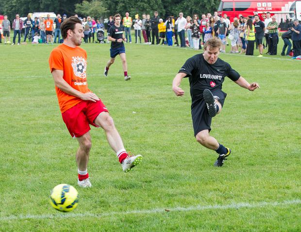 Sunday 14 September 2014. Phoenix Park: Sport Against Racism Ireland (SARI) organised a Sari All-Stars v Love/Hate cast football match. Fran takes a shot at goal.