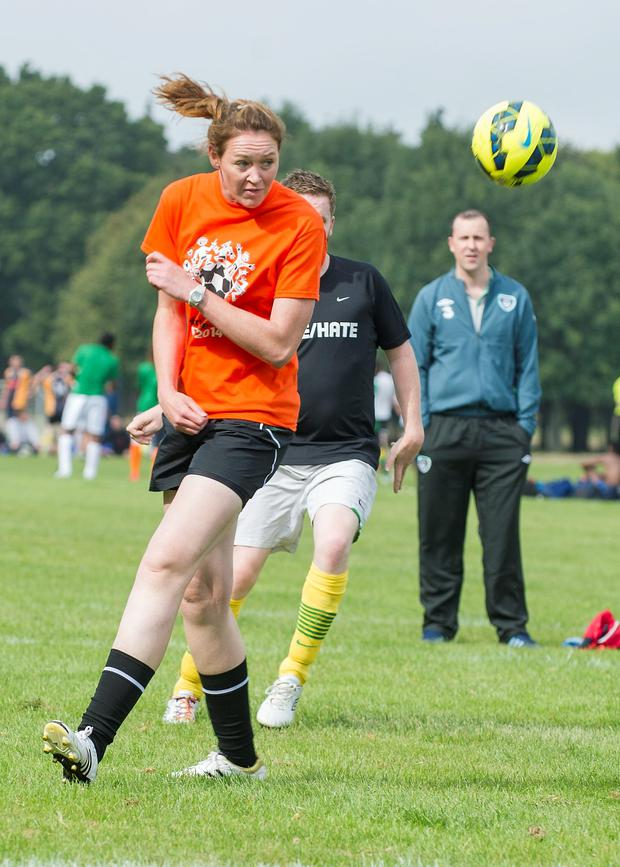Sunday 14 September 2014. Phoenix Park: Sport Against Racism Ireland (SARI) organised a Sari All-Stars v Love/Hate cast football match. Maz Reilly, Irish Rugby team.