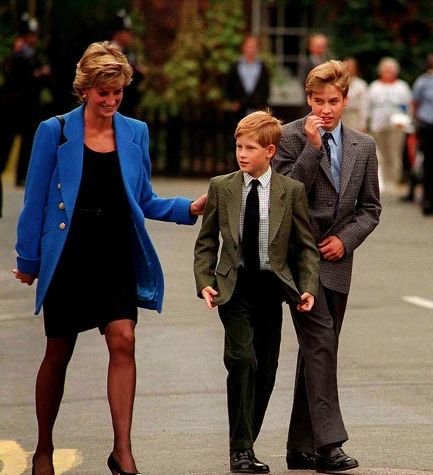 Harry with his big brother William and late mother Princess Diana