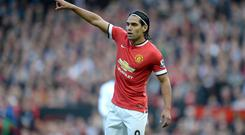 Manchester United's Radamel Falcao during the Barclays Premier League match at Old Trafford