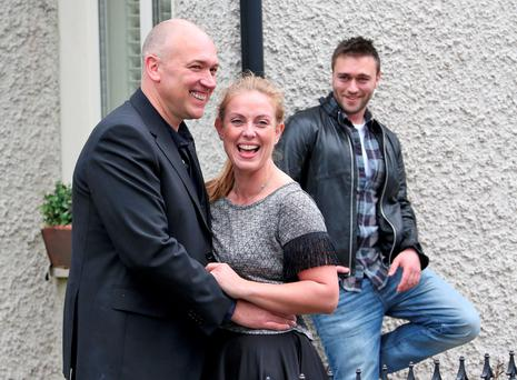Tony Tormey (Paul Brennan), Clelia Murphy (Niamh Brennan) and Richard McWilliams (Michael O'Brien with whom Niamh is having an on-screen affair with) on the set of RTE's Fair City celebrating the 25th Anniversary of the popular soap. Picture Colin Keegan/Collins