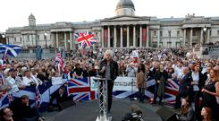 Bob Geldof addresses an anti-independent rally at Trafalgar Square in London ahead of Thursday's Scottish independence referendum. Photo: Jonathan Brady/PA Wire