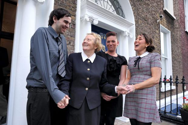 Founder Sr Consilio with residents Joseph Tallon, Kelly Maria Clarke and Shirley Bonass at the opening of a major extension of the Cuan Mhuire Centre in Dublin. Jason Clarke