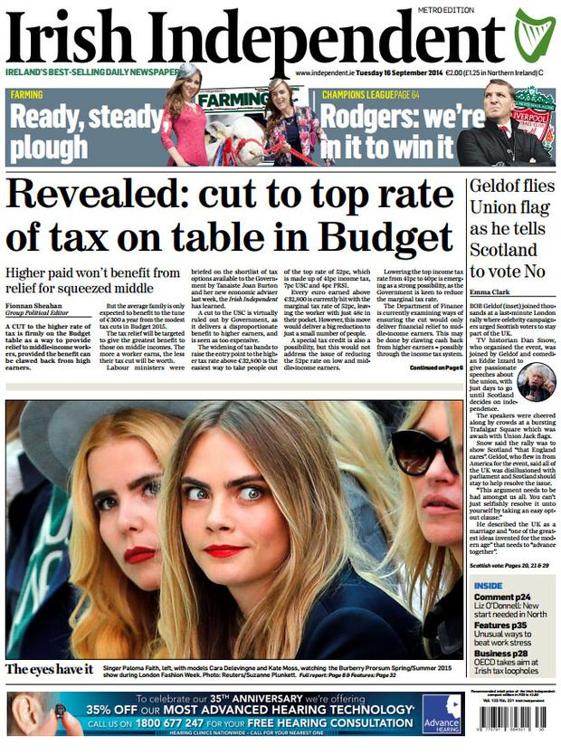 This morning's Irish Independent front page