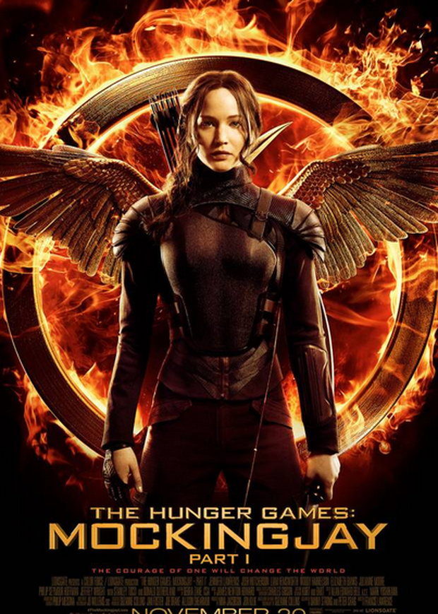 Jennifer Lawrence in the official poster for The Hunger Games: Mockingjay Part 1