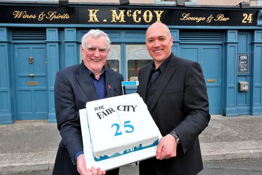 The only two remaining members of the original cast of Fair City, Tom Jordan (Charlie Kelly) and Tony Tormey (Paul Brennan) pictured on the set of the show this afternoon to celebrate the 25th Anniversary of the popular soap Picture Colin Keegan, Collins Dublin