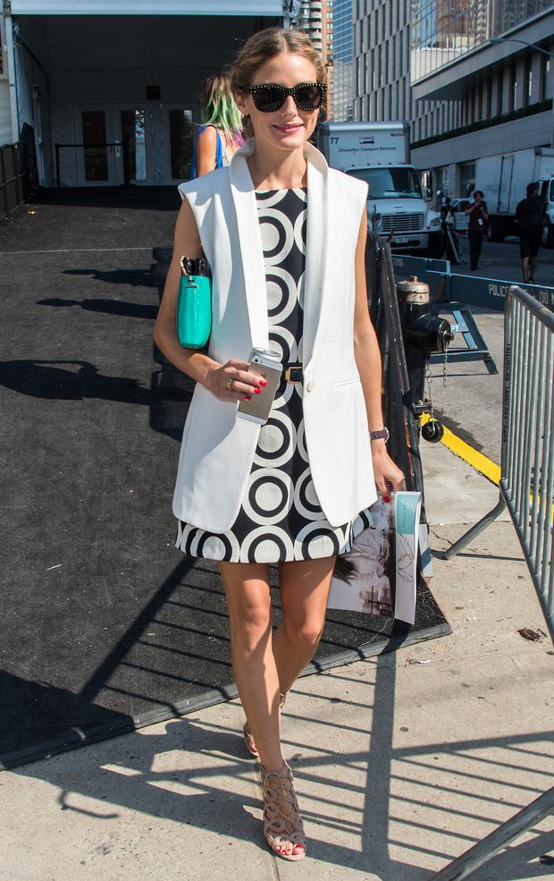 Socialite Olivia Palermo is seen at Lincoln Center during Mercedes-Benz Fashion Week Spring 2015