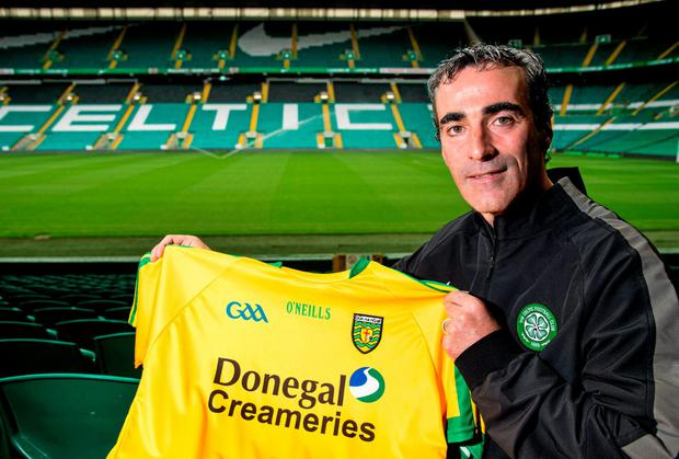 Donegal manager and Celtic reserve team coach Jim McGuinness pictured at Celtic Park, ahead of his side's All-Ireland final against Kerry. Photo: Rob Casey / SPORTSFILE