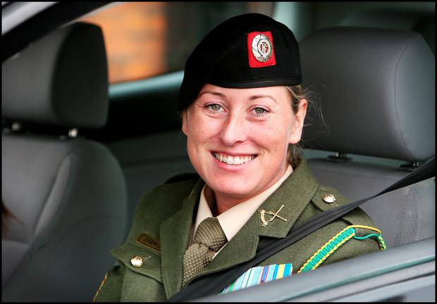 Sergeant Michelle Bramley leaving the court martial at McKee Barracks. Picture: Steve Humphreys