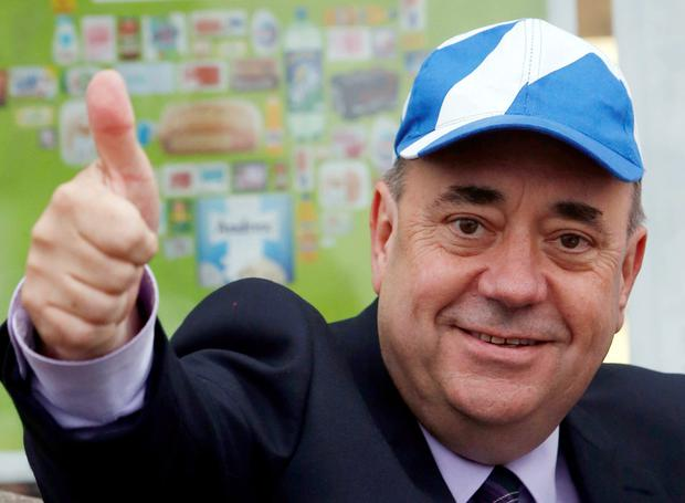 First Minister of Scotland Alex Salmond in Newmachar, Scotland, as Scotland goes to the polls to vote in the Scottish independence referendum.