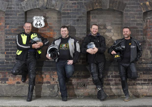 Paul Purcell (left) from Beaumont and fellow biker Philip Carey from Castleknock are pictured with Irish comedians PJ Gallagher and Eric Lalor as they prepare for their 2,444 mile journey across America. Picture Andres Poveda