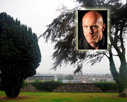 The trees in the grounds of St Finan's Hospital which overlook Fitzgerald Stadium where the Kerry team were training and (inset) Patrick Roarty
