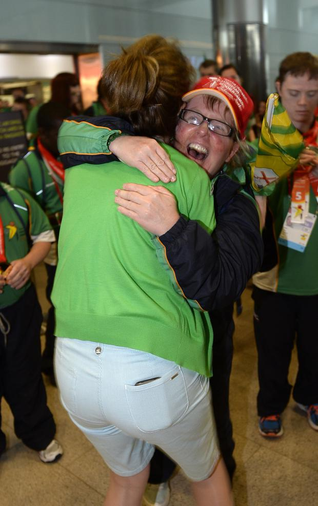 Team Ireland's Philomena Doherty arrives home from the Special Olympics European Games. Photo: Bryan Meade