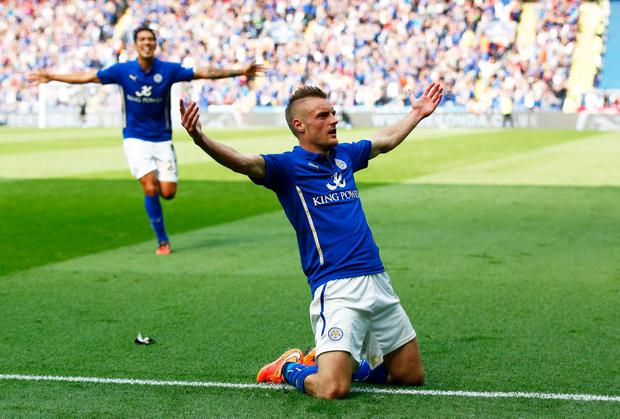 Jamie Vardy after scoring Leicester City's fourth goal against Manchester United at the King Power Stadium. Photo: Clive Rose/Getty Images