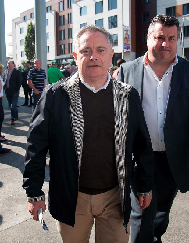 21/09/2014 Minister for Public Expenditure Brendan Howlin at the All Ireland Football final between Kerry & Donegal at Croke Park, Dublin. Photo: Gareth Chaney Collins