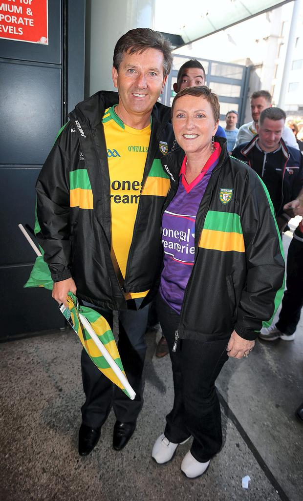 Donegal fans Daniel and Majella o'Donnell pictured before the All Ireland Football Final, Croke Park, Dublin. Picture credit; Damien Eagers 21/9/2014